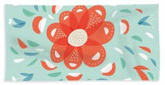 Whimsical Red Flower Beach Towel