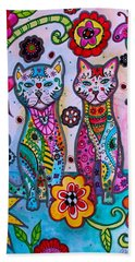 Whimsical Talavera Cats Beach Sheet
