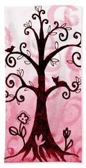 Whimsical Tree With Cat And Bird Beach Towel