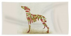 Beach Sheet featuring the painting Whippet Watercolor Painting / Typographic Art by Inspirowl Design