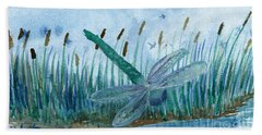 Whispering Cattails Beach Towel