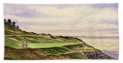 Beach Sheet featuring the painting Whistling Straits Golf Course Hole 7 by Bill Holkham