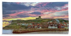Whitby Abbey Uk Beach Towel by Lynn Bolt