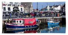 Whitby Harbor, United Kingdom Beach Towel