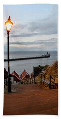 Whitby Steps Blue Hour Beach Towel
