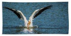 White American Pelican Beach Towel by Pamela Williams