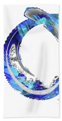 White And Blue Art - Swirling 4 - Sharon Cummings Beach Towel