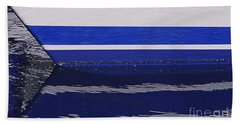 White And Blue Boat Symmetry Beach Towel by Danuta Bennett