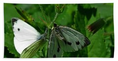 White And Grey Green Wings Beach Sheet