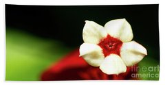 White And Red Flower Beach Towel