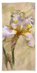 White And Yellow Iris Beach Towel