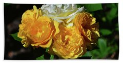 White And Yellow Rose Bouquet 001 Beach Towel by George Bostian