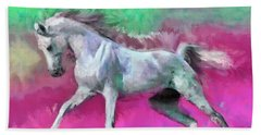 White Arabian Horse Art Beach Towel