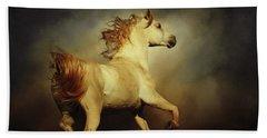 White Arabian Horse With Long Beautiful Mane Beach Sheet