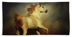 White Arabian Horse With Long Beautiful Mane Beach Towel