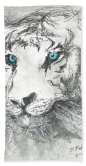 White Bengal Tiger Beach Towel