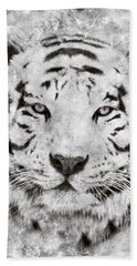 White Bengal Tiger Portrait Beach Towel