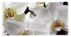 White Big Orchids  Beach Towel