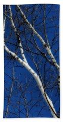 White Birch Blue Sky Beach Sheet