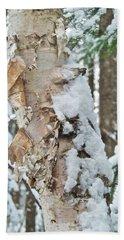 White Birch With Snow Beach Sheet