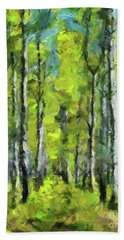 White Birches Beach Sheet by Dragica Micki Fortuna