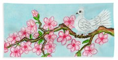 White Bird On Branch With Pink Flowers, Painting Beach Sheet by Irina Afonskaya