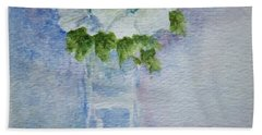 White Blooms In Blue Vase Beach Towel