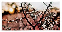 White Blossom Branches Beach Towel by Carol Crisafi
