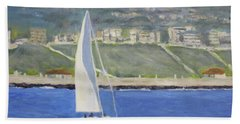 White Boat, Blue Sea Beach Towel