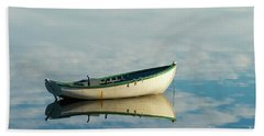 White Boat Reflected Beach Towel