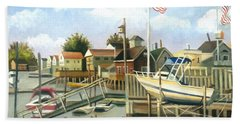 White Boat With Flags In Broad Channel Beach Towel