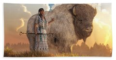 White Buffalo Calf Woman Beach Sheet