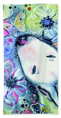 Beach Towel featuring the painting White Bull Terrier And Butterfly by Zaira Dzhaubaeva