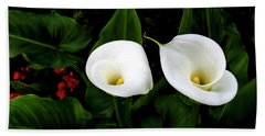White Calla Lily Beach Towel