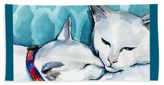 White Cat Affection Beach Towel