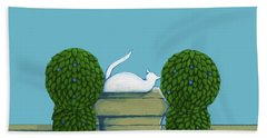 White Cat Blue Sky Beach Towel