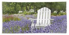 Beach Towel featuring the photograph White Chair In A Field Of Lavender Flowers by Brooke T Ryan