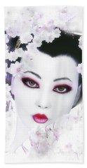 Beach Towel featuring the digital art White Cherry Blossom Geisha by Shanina Conway