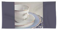 Beach Towel featuring the photograph White China Cup, Saucer And Plates by Lyn Randle