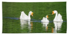 White Chinese Geese Beach Towel