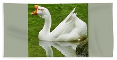 White Chinese Goose Beach Sheet by Susan Garren