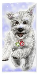 Beach Towel featuring the drawing White Christmas Doggy by Heidi Kriel