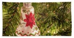 White Christmas Ornament Beach Sheet