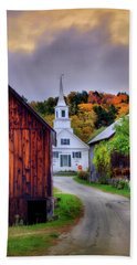 Beach Towel featuring the photograph White Church In Autumn - Waits River Vermont by Joann Vitali