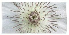White Clematis Flower Macro 50121c Beach Towel