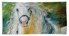 White Cloud The Andalusian Stallion Beach Towel