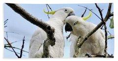 White Cockatoos Beach Sheet by Kaye Menner