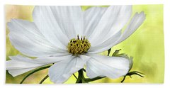 White Cosmos Floral Beach Towel