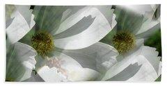 White Cosmos Petals Beach Towel