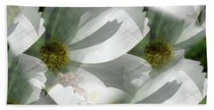White Cosmos Petals Beach Sheet